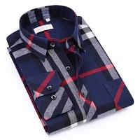 2018新款格子长袖衬衫男士衬衣合体寸衣服中年男装韩版潮