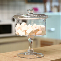 欧式玻璃糖果罐高脚透明储物罐创意甜品台家居摆件
