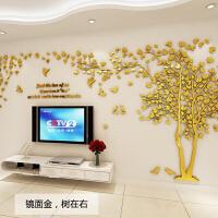 3立体墙贴亚克力客厅墙壁房间家居装饰品沙发背景墙贴画电视墙画 镜面金,树在右(鸟款)