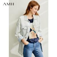 【折后价:281元/再叠优惠券】Amii极简帅气工装风牛仔外套女2020春季新款潮牛仔衣宽松休闲外套