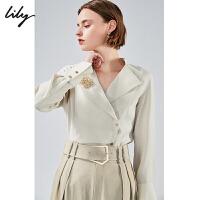 Lily2020春新款女装不对称斜门襟大翻领宽松胸针长袖衬衫4905