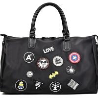 新款韩版大容量旅行包短途旅行袋男士时尚行李手提包运动旅游包潮 黑色 大