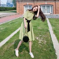 抹茶绿连衣裙2019新款夏果色仙女显瘦气质牛油果绿收腰雪纺长裙子