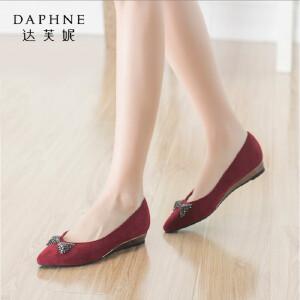 Daphne/达芙妮正品女鞋 秋季尖头女鞋低跟时尚蝴蝶结水钻浅口单鞋