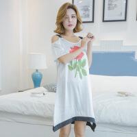 新款睡裙女夏季短袖韩版可爱清新学生可外穿冰丝睡衣家居服XC ydy#777玫瑰花