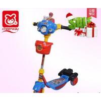 祺月儿童三轮滑板车滑轮车宝宝滑行车 三轮滑板车带灯光灯带音乐