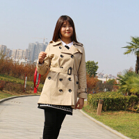 大码女装胖mm冬装新款韩版遮肉双排扣风衣