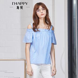 海贝2018夏装新款女清新蓝条纹花边一字领单排扣正反两穿短袖小衫