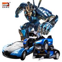儿童玩具车遥控变形汽车人三变布加迪战龙电动机器人
