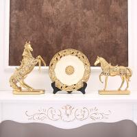 欧式圆盘客厅酒柜装饰品摆件创意家居电视柜玄关办公室工艺品摆设