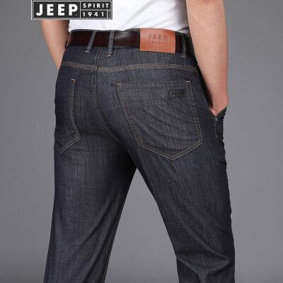 JEEP吉普牛仔裤男装薄款微弹直筒牛仔长裤2018春夏新款休闲裤子