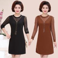 促销中年女春装新款韩版修身显瘦连衣裙妈妈装时尚中长款打底裙潮