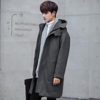 韩版中长款加厚纯色毛呢大衣男冬季新款宽松连帽风衣妮子外套 灰色 M