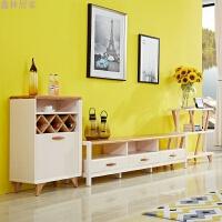 现代简约地中海茶几电视柜地柜北欧实木组合电视墙客厅家具 组合 组装