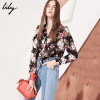 Lily春新款女装宽松印花荷叶边雪纺衫系带雪纺衫118120C8621