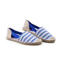 伊贝拉(YI-BELLA)新款女鞋凉鞋套脚麻底鞋懒人鞋潮流帆布鞋平跟橡胶底凉鞋条纹透气女鞋
