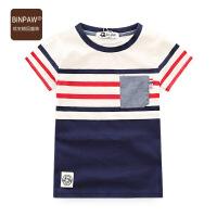 【尾品汇大促】儿童短袖条纹体恤2018新款夏装定制色织条纹全棉夏T恤 时尚潮上衣