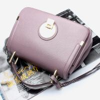 七夕礼物真皮女包2018夏新款欧美风头层牛皮包相机包牛皮单肩手提斜挎包 紫色