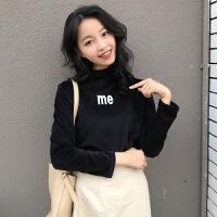 秋冬女装2017新款韩版修身长袖字母印花丝绒半高领T恤打底衫上衣