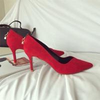 2018新款女士高跟单鞋细跟尖头浅口大码性感女鞋