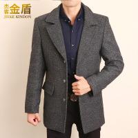 羊毛呢子大衣男韩版修身冬季加厚帅气妮子冬天中年中长款男士外套