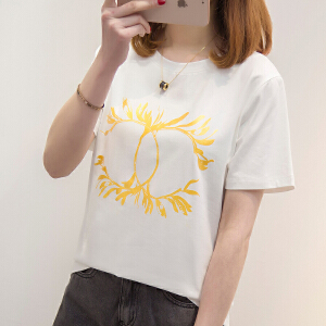 【每满200减100元】新款短袖体恤女2018夏季韩版宽松显瘦印花t恤学生上衣服潮