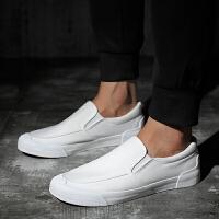 男士帆布鞋春季板鞋一脚蹬纯黑色布鞋男低帮学生全黑色潮男套脚鞋 白色 1691