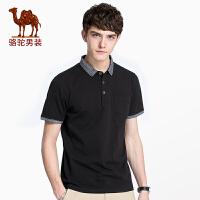 骆驼男装 夏季新款衬衫领短袖t恤男青年棉上衣休闲韩版潮T