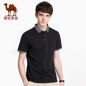骆驼男装 2018夏季新款衬衫领短袖t恤男青年棉上衣休闲韩版潮T