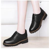 古奇天伦韩版新款圆头中跟粗跟单鞋皮鞋英伦风女鞋子春季百搭CDE8895