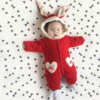 冬款加厚婴儿衣服哈衣连体衣0-1岁3个月宝宝冬装可爱动物造型爬服