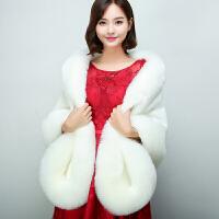 冬季仿狐狸毛新娘结婚皮草婚纱礼服披肩加厚斗篷保暖毛外套女