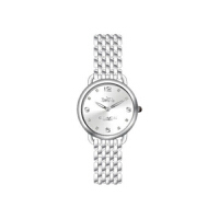 【网易考拉】COACH 蔻驰 女士蒂兰希超薄系列 时尚简约石英表银色不锈钢表带白盘女表