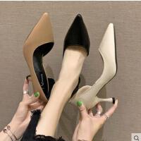 新款韩版漆皮浅口尖头美鞋简约细跟女鞋百搭高跟鞋女单鞋