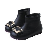 儿童短靴秋冬时尚皮靴英伦风鞋春秋单靴女童马丁靴