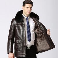 冬季中老年男装皮衣中长款狐狸毛领加绒加厚皮夹克大码外套爸爸装