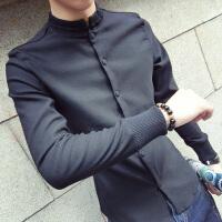2018春季复古中国风立领长袖衬衫男款韩版修身百搭潮流名族风衬衣
