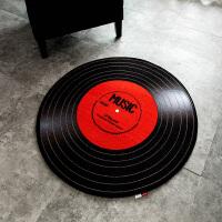 个性创意唱片圆形地毯卧室 吊篮地垫客厅茶几垫家用房间电脑椅垫 黑色 妙音的感动