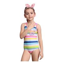 YINGFA英发 儿童时尚印花连体三角泳衣Y0318 女童彩色条纹舒适游泳装