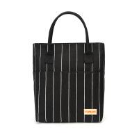 手提包时尚便当袋女包帆布印花饭盒袋手拎包妈咪包简约大包带饭包 黑色 普通款