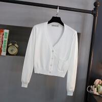 春秋季超短款V领修身薄针织衫女开衫高腰毛衣小外套披肩外搭上衣