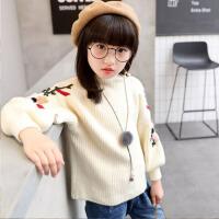 儿童圆领可爱针织羊毛打底衫中大童韩版 女童毛衣套头秋冬新款童装 米 白色