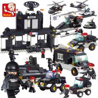 儿童拼装拼插男孩玩具车人仔12-10岁小鲁班积木城市警察特警