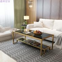 简约现代铁艺钢化玻璃茶几大小户型客厅个性几何创意家具欧式茶桌 整装