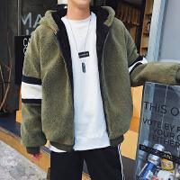 子俊冬季新款加绒加厚棉衣男士韩版拼接羊羔毛棉袄连帽情侣外套潮