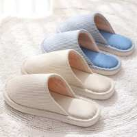 日式亚麻拖鞋女冬季家居春秋情侣居家用室内防滑地板四季棉布男士