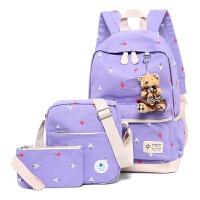 大容量女孩子帆布书包中小学生双肩背包休闲旅游包儿童背包7-12岁