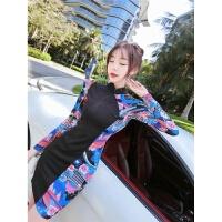 秋冬季裙子2018新款韩版复古时尚气质立领长袖印花拼接旗袍连衣裙 图片色