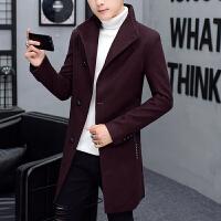 韩版中长款风衣男修身潮流冬季妮呢子大衣男士披风秋冬装毛呢外套
