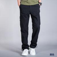 夏季休闲裤男纯棉宽松多口袋直筒长裤子男士百搭运动工装裤男潮牌